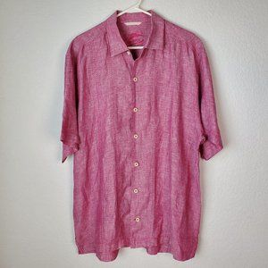 Tommy Bahama Relax Linen Red Violet Button Up